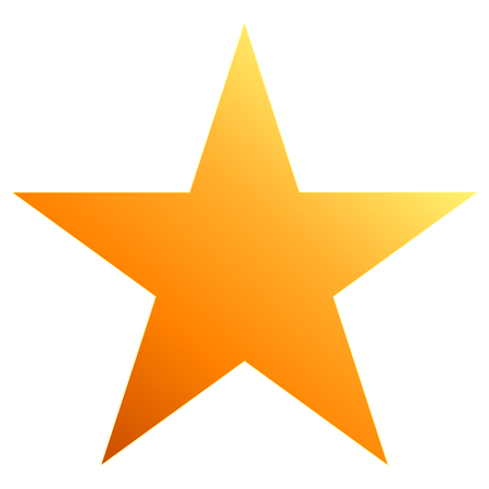 Christmas star orange - simple 5 point star - isolated on white - vector illustration