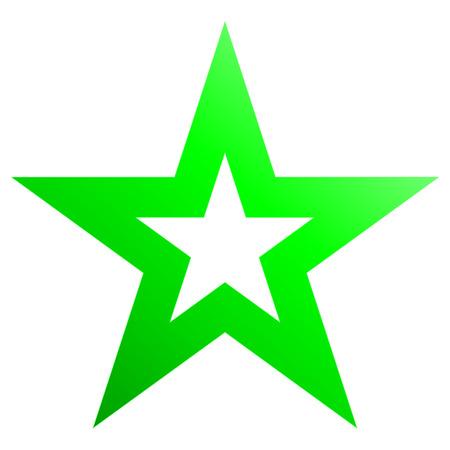 Green christmas star isolated on white background. Ilustração