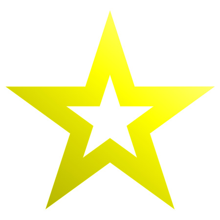 Christmas star yellow - outlined 5 point star - isolated on white - vector illustration