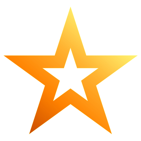 Christmas star orange - outlined 5 point star - isolated on white - vector illustration