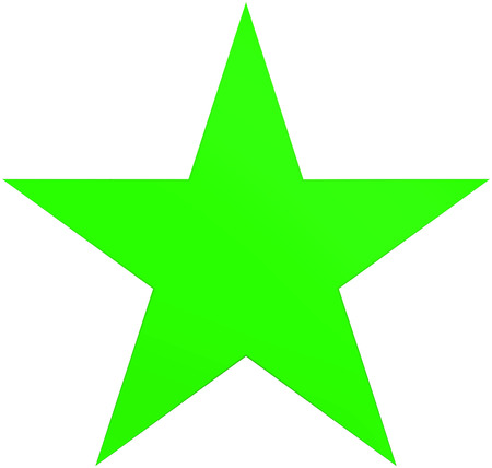 Christmas star green - simple 5 point star - isolated on white - 3d rendering Stock Photo