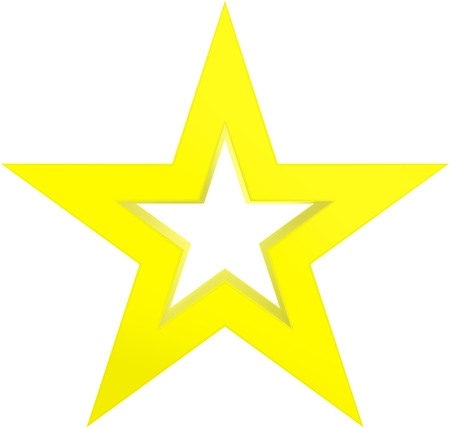 Christmas star yellow - outlined 5 point star - isolated on white - 3d rendering Stock Photo