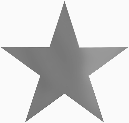 Christmas star metal - simple 5 point star - isolated on white - 3d rendering Stock Photo