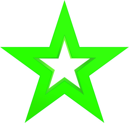 Christmas star green - outlined 5 point star - isolated on white - 3d rendering