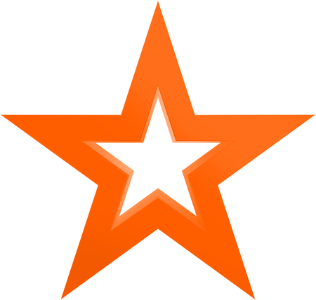 Christmas star orange - outlined 5 point star - isolated on white - 3d rendering