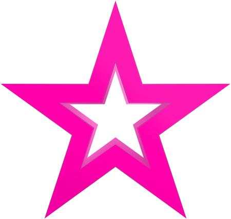Kerstmisster purper - geschetste ster 5 die - op wit wordt geïsoleerd - het 3d teruggeven