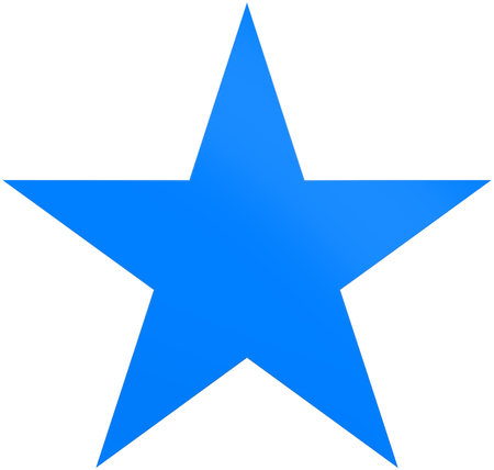Christmas star blue - simple 5 point star - isolated on white - 3d rendering