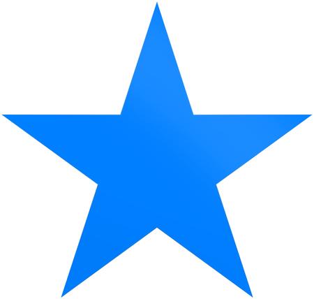 Kerstmissterblauw - eenvoudige ster 5 die punt - op wit wordt geïsoleerd - het 3d teruggeven