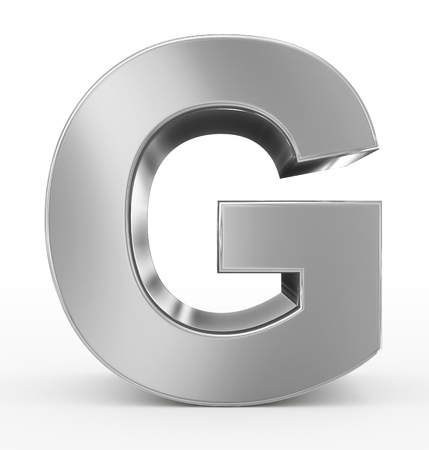 letter G 3d silver isolated on white - 3d rendering Stock fotó