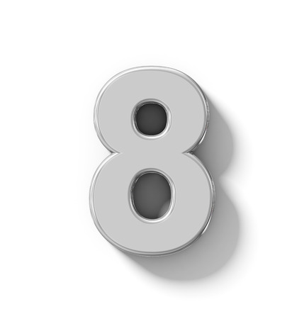 number 8 3D silver isolated on white with shadow - orthogonal projection - 3d rendering