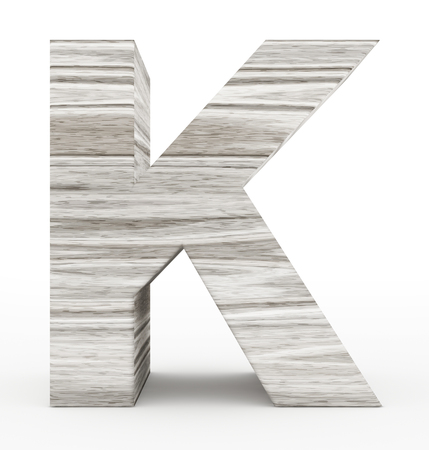 letter K 3d wooden isolated on white - 3d rendering Stock Photo