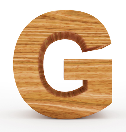 letter G 3d wooden isolated on white - 3d rendering 스톡 콘텐츠