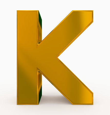 letter K 3d cubic golden isolated on white - 3d rendering