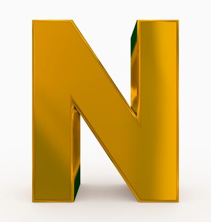 Buchstabe N 3d kubisches Gold lokalisiert auf Weiß - 3d Rendering Standard-Bild