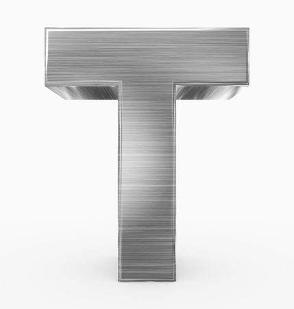 letter T 3d cubic metal isolated on white - 3d rendering