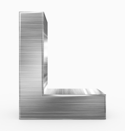 letter L 3d cubic metal isolated on white - 3d rendering