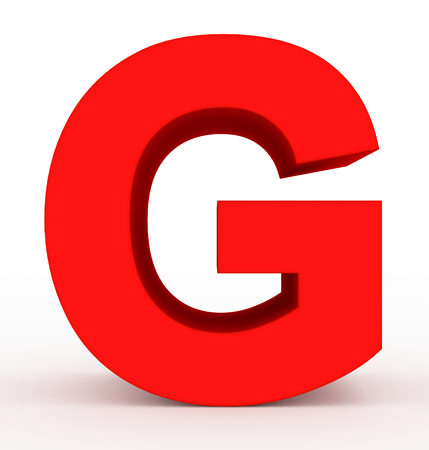 letter G 3d clean red isolated on white - 3d rendering 스톡 콘텐츠