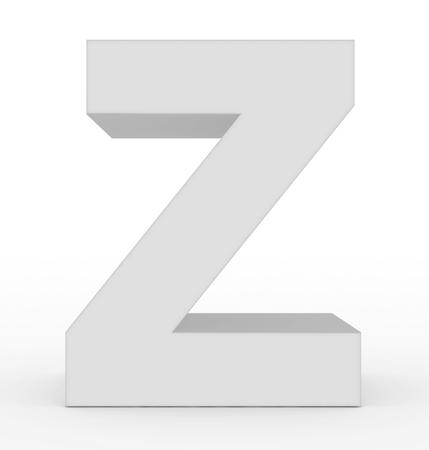 letter Z 3d white isolated on white - 3d rendering Stock Photo