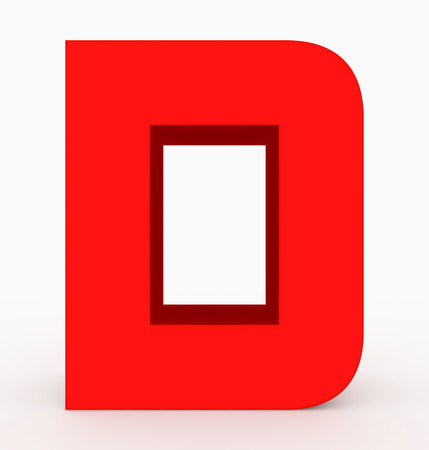 letter D 3d cubic rounded red isolated on white - 3d rendering Stock Photo