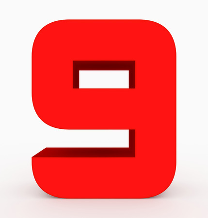 number 9 3d cubic rounded red isolated on white - 3d rendering