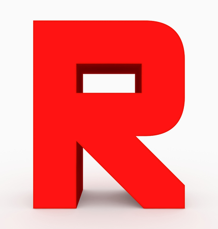 letter R 3d cubic rounded red isolated on white - 3d rendering