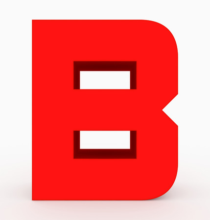 letter B 3d cubic rounded red isolated on white - 3d rendering