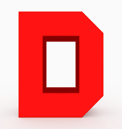 letter D 3d cubic red isolated on white - 3d rendering