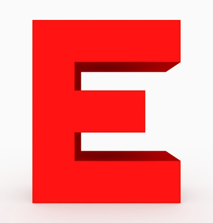 letter E 3d cubic red isolated on white - 3d rendering