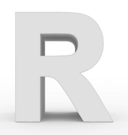 letter R 3d white isolated on white - 3d rendering Stock Photo