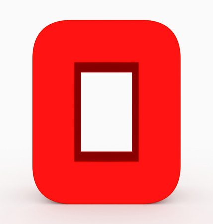 letter O 3d cubic rounded red isolated on white - 3d rendering Stock Photo