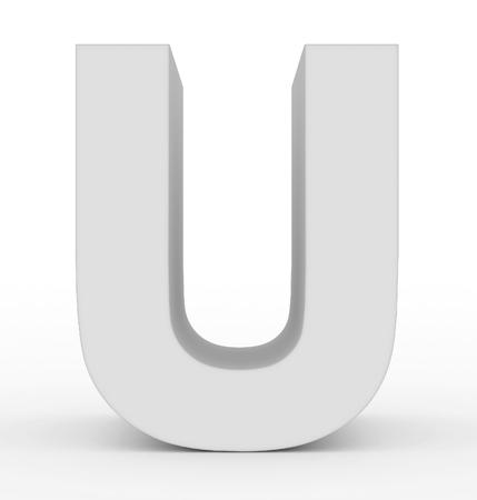 letter U 3d white isolated on white - 3d rendering