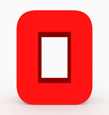 number 0 3d cubic rounded red isolated on white - 3d rendering