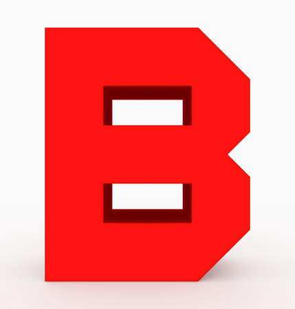 letter B 3d cubic red isolated on white - 3d rendering Stock Photo