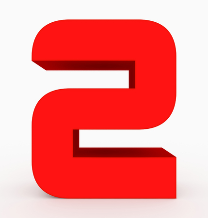 number 2 3d cubic rounded red isolated on white - 3d rendering