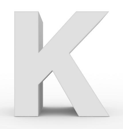 letter K 3d white isolated on white - 3d rendering Stock Photo