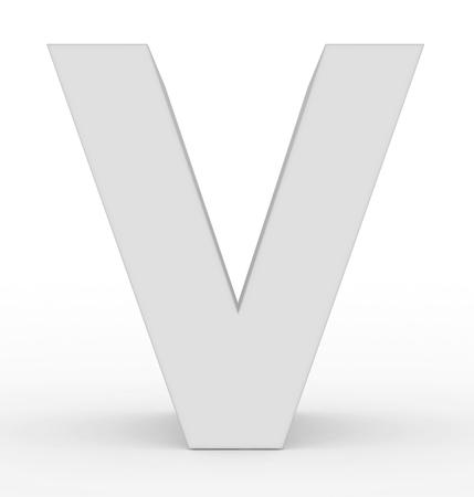 letter V 3d white isolated on white - 3d rendering