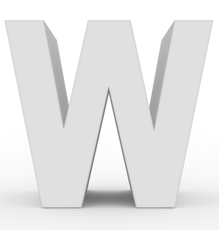 letter W 3d white isolated on white - 3d rendering