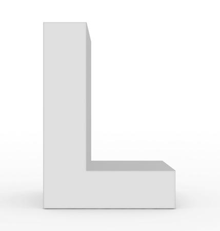 letter L 3d white isolated on white - 3d rendering