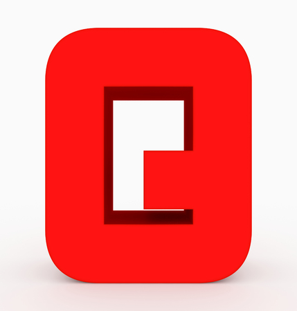 letter Q 3d cubic rounded red isolated on white - 3d rendering Stock Photo