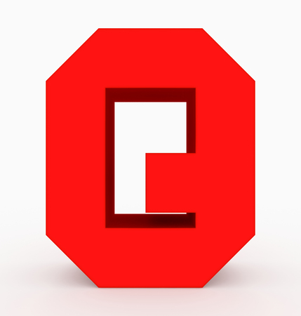 letter Q 3d cubic red isolated on white - 3d rendering