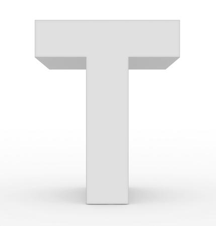 letter T 3d white isolated on white - 3d rendering