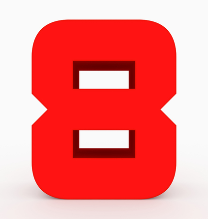 number 8 3d cubic rounded red isolated on white - 3d rendering Stock Photo
