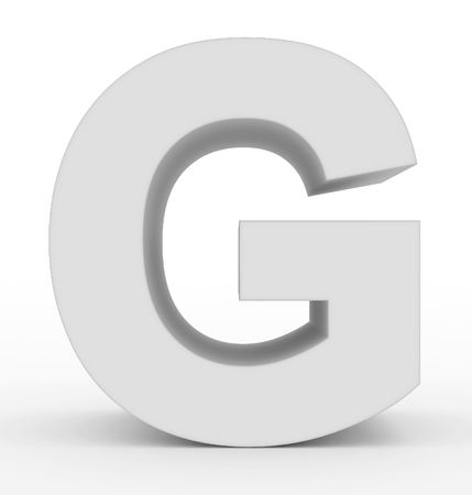 letter G 3d clean white isolated on white - 3d rendering