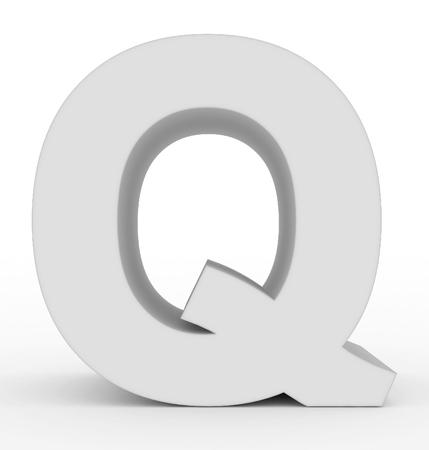 letter Q 3d white isolated on white - 3d rendering