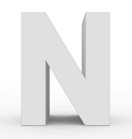 letter N 3d white isolated on white - 3d rendering Stock Photo
