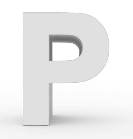 letter P 3d white isolated on white - 3d rendering