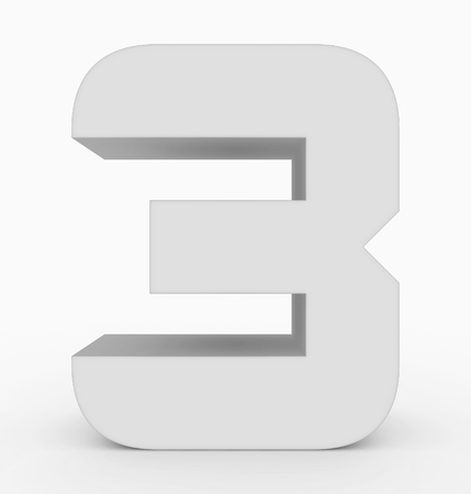 number 3 3d cubic rounded white isolated on white - 3d rendering