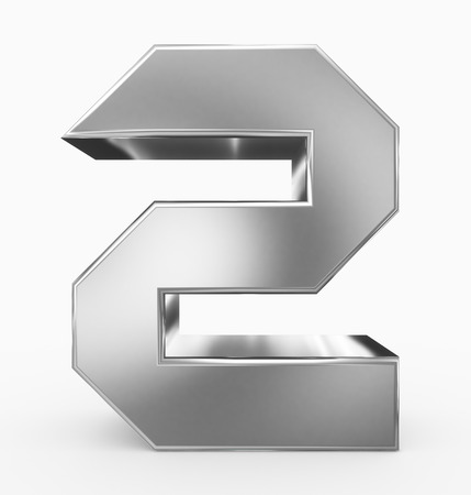 number 2 3d cubic silver isolated on white - 3d rendering Imagens