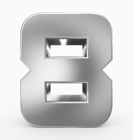 number 8 3d cubic rounded silver isolated on white - 3d rendering Imagens