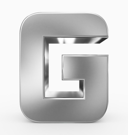 letter G 3d cubic rounded silver isolated on white - 3d rendering Stock fotó